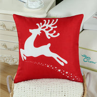 CaliTime Pack of 2 Soft Canvas Throw Pillow Covers Cases for Couch Sofa Home Decoration Christmas Holiday Reindeer with Stars Print 18 X 18 Inches Christmas Red