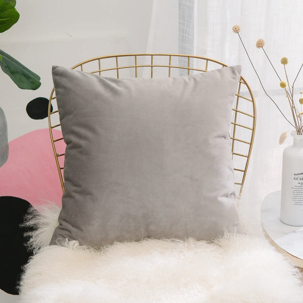 Home Brilliant Velvet Accent Throw Pillow Sham Solid Square Soft Cushion Cover for Office Car Travel Nursery, 18 Inches (45cm), Light Grey