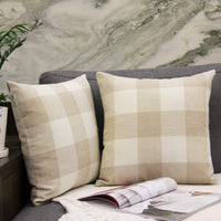JOJUSIS Pack of 2 Farmhouse Holiday Classic Buffalo Check Plaid Throw Pillow Covers Cotton Linen Soft Solid Decorative Square Cushion Cases for Sofa Bedroom Car 18 x 18 Inch Beige