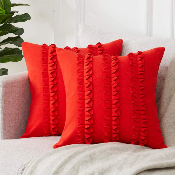 Top Finel Decorative Throw Pillow Covers 18 x 18 Inch Luxury Wool Blend Solid Cushion Covers for Couch Bedroom Car 45 x 45 cm, Pack of 2, Red