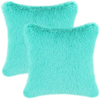 CaliTime Pack of 2 Super Soft Throw Pillow Covers Cases for Couch Sofa Bed Solid Plush Faux Fur 18 X 18 Inches Teal