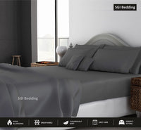 SGI bedding 600 Thread Count Super Soft Cotton King Size Bed Sheets Dark Grey Solid