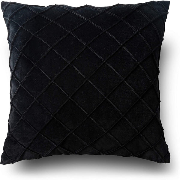 PLWORLD Velvet Pleated Throw Pillow Covers 20 x 20 inch, Soft Solid Square Decorative Cushion Cases for Couch, 1 Pack, Black