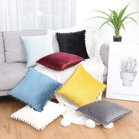 "SEEKSEE Velvet Solid Cushion Covers for Couch Bed Decorative Throw Pillow Covers with Pom-poms for Couch Bed 45 x 45 cm (Pack of 2, Yellow, 18""x18"")"
