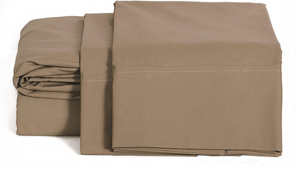 100% Cotton Percale Sheets Twin Size, Taupe, Deep Pocket, 3 Piece - 1 Flat, 1 Deep Pocket Fitted Sheet and 1 Pillowcase, Crisp and Strong Bed Linen
