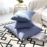 "Kevin Textile Pack of 2, Decoration Fashion Classic Checkered Throw Pillow Covers Cotton Linen Soft Solid Square Cushion Case for Sofa/Bedroom, 20"" x 20"", Little Boy Blue"