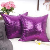 "YOUR SMILE Pack of 2, New Luxury Series Purple Decorative Glitzy Sequin & Comfy Satin Solid Throw Pillow Cover Cushion Case 18"" x 18"" (148)"