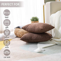 Stellhome Rectangle Linen Throw Pillow Covers Solid Pillowcase for Home Decoration, Set of 2, 12 x 20 inch (30 x 50 cm), Brown