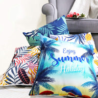 2 Packs Decorative Throw Pillow Cover Coconut Tree Hawaii Summer Holiday Cushion Case Enjoy The Sunshine Touching Cool Material Colorful Beach Style for Bed, Sofa, Car, indoor/outdoor. 18x18 Inch