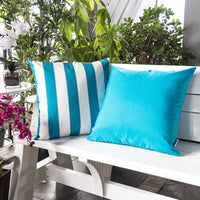 Homey COZY Outdoor Throw Pillow Cover, Classic Solid Aqua Blue Large Pillow Sham Water/UV Fade/Stain-Resistance for Patio Lawn Couch Sofa Lounge 20x20, Cover Only