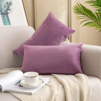 YESHOME Pack of 2 Throw Pillow Covers Pink Decorative with Soft Velvet Solid Cushion Cover Bedroom Office Car 18x18