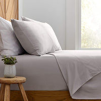 Stone & Beam Rustic Solid 100% Cotton Flannel Pillowcase Set, Set of 2, King, Cloud