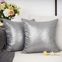 "YOUR SMILE Pack of 2, New Luxury Series Grey Decorative Glitzy Sequin & Comfy Satin Solid Throw Pillow Cover Cushion Case for Wedding/Party,18"" x 18"""