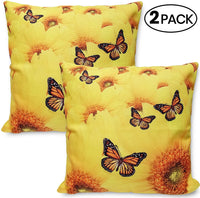Sunflower and Butterflies Pillow Cases- Zen Garden- Indoor/Outdoor Decoration Sunflower, Butterflies Cotton and Linen Throw Pillow Decors | Sofa Car Bed Couch Chair Decorative Cushion Covers -2 Pac