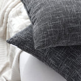 Kevin Textile Pillow Case Faux Linen Toss Soft Throw Cushion Covers for Couch, Invisible Zipper, 18x18 inches(Set of 2, Black)
