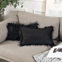 Kevin Textile Pack of 2 Luxury Series Throw Pillow Covers Faux Fur Mongolian Style Plush Cushion Case for Couch Bed and Chair, Black 12 x 20 inches 30x 50 cm