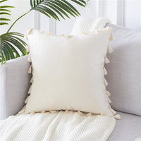 Topfinel Soft Velvet Throws Pillowcases Decoration Cushions Covers Square With Tassel For Sofa Bed Car Home Wedding Throw Pillow