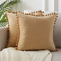 Topfinel Soft Velvet Throw Pillow Cover With Balls Decorative Pillows Cushion Cover For Sofa Bed Car Home Multiple sizes 8 Color