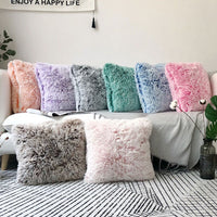 Modern Shaggy Sofa Cushion Cover Winter Double Plush Throw Pillow Case for couch/Car Morandi Colour Pillow Covers Home Decor