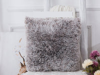 Double colour Long Fur Plush cushion covers Sofa kussenhoes coussin decoration decorative throw pillowcase travesseiro cojines