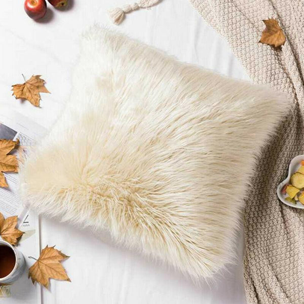 1pc 45cmx45cm Washable Beige Pillow Cover Case Faux Fur Cushion Protection Table And Sofa Lines Hairy Plain Fluffy Decor