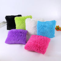 Faux Fur Cushion Cover Solid Soft Fluffy Plush Throw Pillow Cover Case Car Home Sofa Decoration Decorative Pillowcase 43x43cm