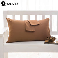 Simple 100%Cotton Solid Color Pillow Case 40*60cm 50*75cm 50*90cm Rectangular Pillowcase Sleeping Bed Pillow Cover Free Shipping
