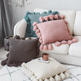 Knit Cushion Cover Solid Ivory Grey Pink Ivory Green Solid Pillow Case 45*45cm Soft For Sofa  Bed Nursery Room Decorative