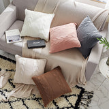 Double Cable Knit Cushion Cover Vintage Coffee Ivory Grey Pink Coffee Solid Pillow Case  45cm*45cm Soft  5 colors for choose