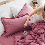 DUNXDECO Bedding Decorative Pillow Case Plain Cotton Cushion Cover Modern Simple Ruffle Border Throw Warm Bed Room Decoration