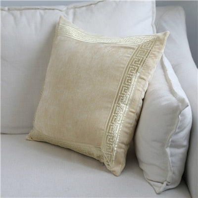 Soft Velvet Grey Cushion Cover Home Decor Blue Embroidered Pillow Case Sofa Decorative Pillows 45*45/60*60cm Throw Pillow Cover