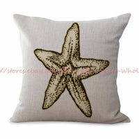 US SELLER-pillow cases decorative starfish sea star cushion cover ocean seaside