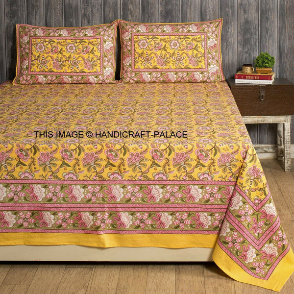 100% Cotton Hand Printed Indian Queen Tapestry Bedsheet with 2 Pillow Cover Set