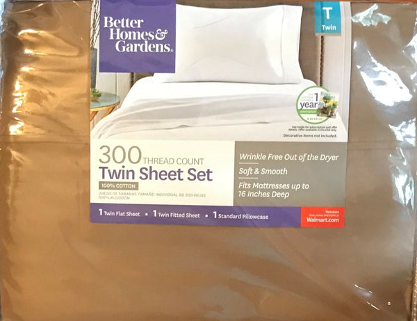 BH&G 300-THREAD COUNT WRINKLE-FREE TWIN SHEET SET