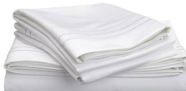 (1) Luxor Style 100% Microfiber Pillowcase Embroidered ~ King White **NEW**