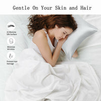 Silk pillowcase for skin and hair wiith envelope closure soft pillow protector
