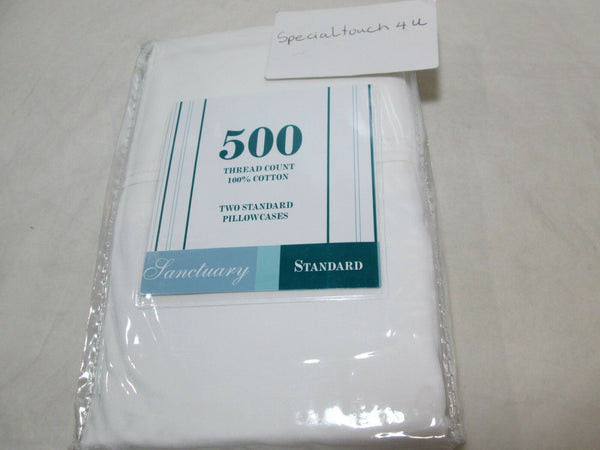 New Santuary Two Standard Pillowcases 500 Thread Count - White NIP
