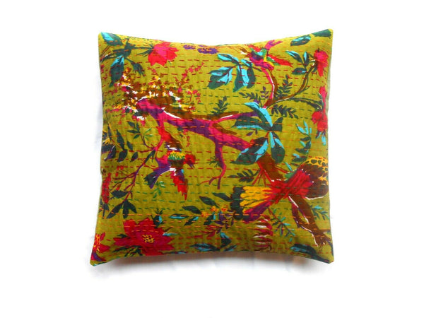 Indian kantha Square Cushion Cover Cotton Pillow Cases Decoration Assorted 5 pcs