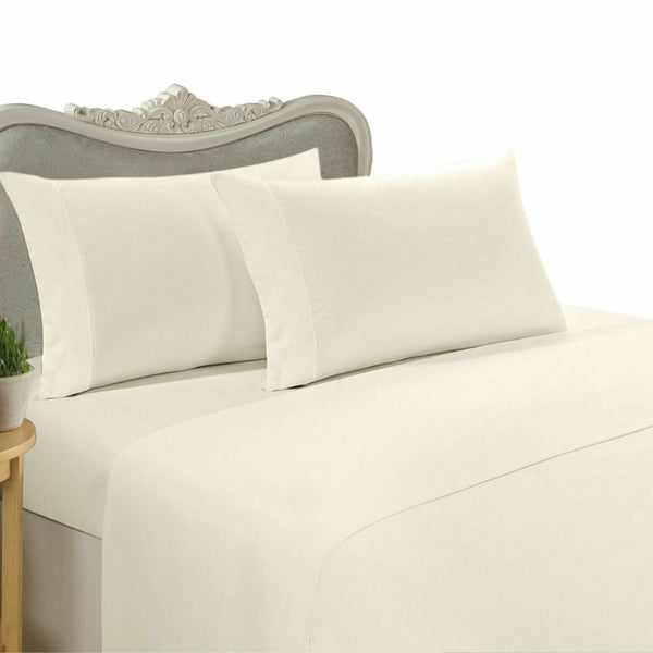 1000 Thread Count 100% Egyptian Cotton Bed Sheet Set 1000 TC FULL Ivory Solid