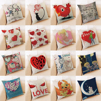 Cartoon Happy Valentine Pillow Cases Cotton Linen Sofa Cushion Soft Cover Best