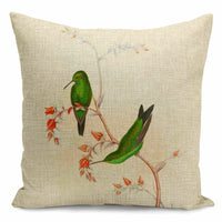 Cushion Cover Flowers Hand-painted Birds simple Retro 18''Pillow Cases Plant