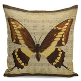 "18"" Vintage Butterfly Throw Pillow Cases Cotton Linen Sofa Waist Cushion Cover"