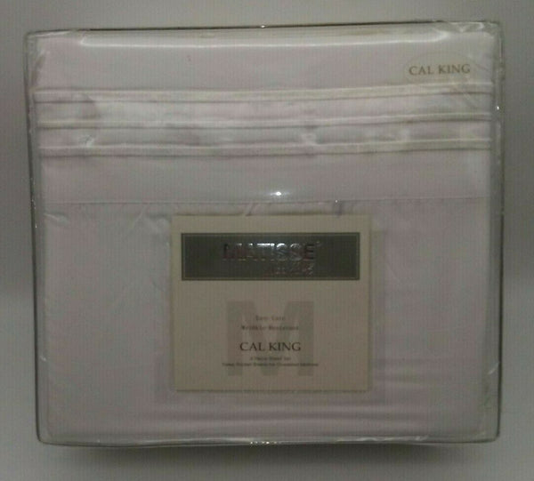 "NWT Sheet Set Cal King Matisse New York 4 Pc Deep Pocket 108"" x 102"" White"