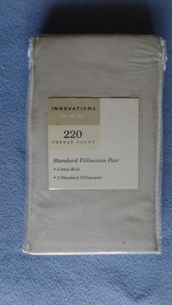 Innovations By Meijer Pair (2) Standard Pillowcases Beige 220 Thread Count