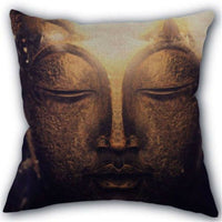 "18"" Linen Cotton Art Design Buddha Statue Square Pillow Cover Throw Pillow Cases"