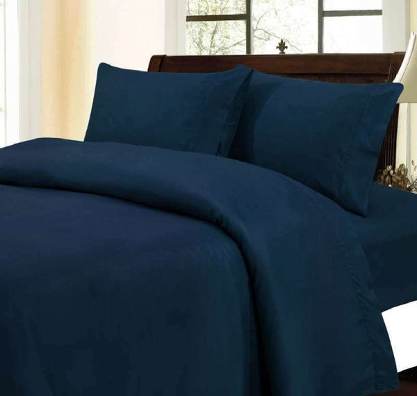 1000 Thread Count 100% Egyptian Cotton Bed Sheet Set OLYMPIC QUEEN Navy Solid