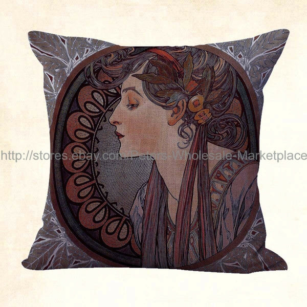 US SELLER, 10pcs awesome pillow cases cushion covers art nouveau Alphonse Mucha