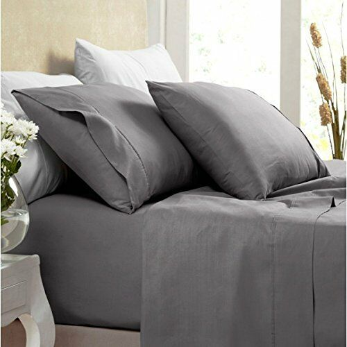 1000 Thread Count Silky Soft 100% BAMBOO Bed Sheet Set SPLIT KING CHARCOAL