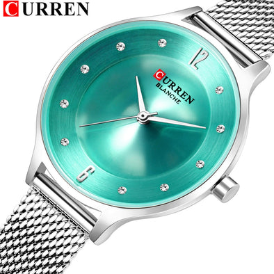 CURREN Womens Simple Fashion Quartz Watch Ladies Dress Wristwatch With Steel Band Female Bling Rhinestone Dial Relogio Feminino