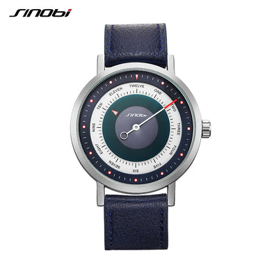 SINOBI 9809 Brand Rotate Creative Designer Men Sport Watches Steel Leather Quartz Clock Military Waterproof Wrist Watch Relogio